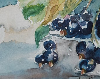Cassis. Mini original watercolor 10 x 10 cm