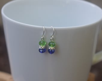 Seahawk earrings, blue and green, glass beads, Seattle