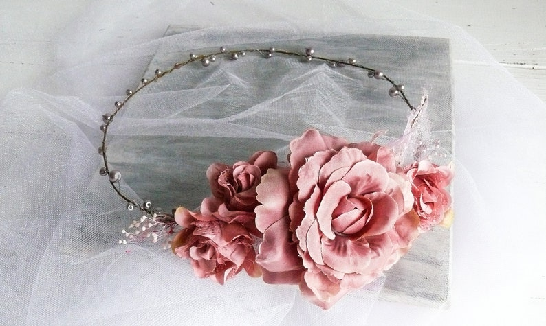5e9cbf99c3d Flower Girl Crown Headband Rose Gold Flower Crown Purple