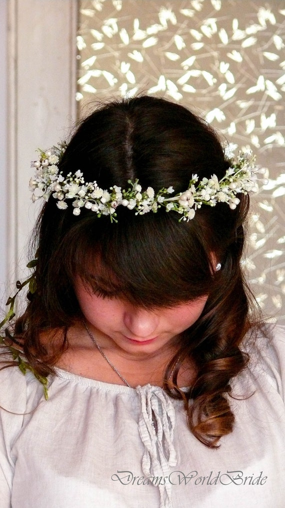 ivory crown accessory flower girl Rose gold flower girl hair head crown wedding rose gold headpiece flower girl crown ivory hair piece