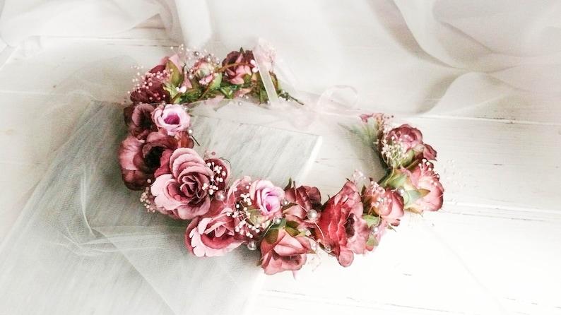 Bride Flower Crown Purple Rose Crown Blush Flower Crown Flower Girl Headpiece Flower Girl Crown Rose Head Wreath Flower Crown Wedding