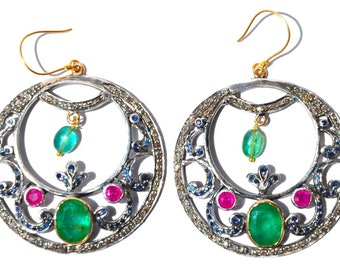 Elegant 14KT 12 CT Emerald Ruby Blue Sapphire Diamond Hoop Victorian Earrings