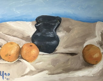 Original Oil Painting; Still Life; Three Oranges and Pitcher