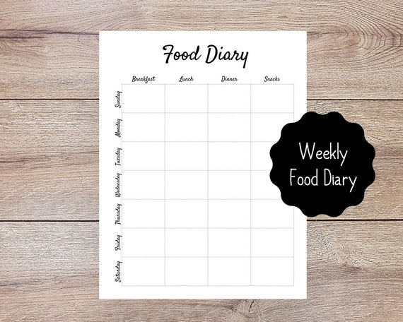 weekly food diary printable for bullet journal planner etsy