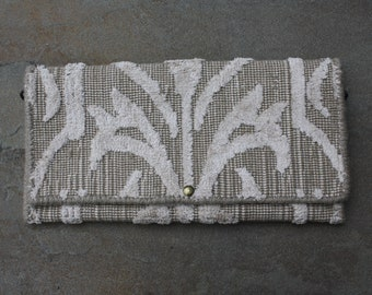 Tapestry Clutch - Cream and Camel Design