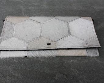 Cowhide Clutch - Cream Honeycomb Fur Repeat