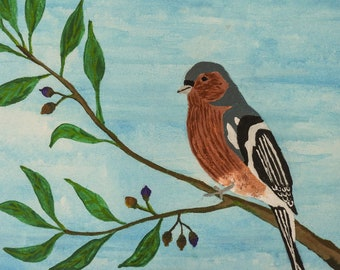Finch painting in acrylic and watercolor 30x40