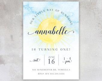 Ray of Sunshine Birthday Invitations