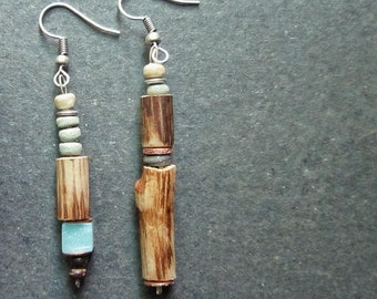 Boho Earrings Wood; Amazonite; Copper; Coconut; Silver; Festival; Summer; Nature
