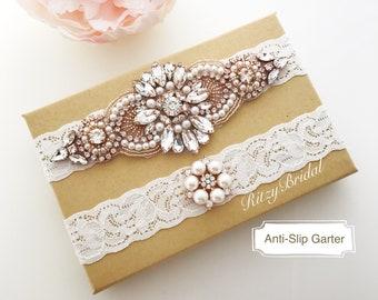 Rhinestone Wedding Garter Set,Crystal Rhinestone Wedding Garter Set,Bridal Rose Gold Garter Belt,Blush Wedding Garter GT-70