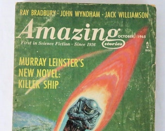 Amazing Stories October 1965 Ray Bradbury John Wyndham Jack Williamson