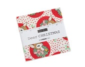 Deer Christmas Layer Cake Designed By Urban Chiks For Moda - Retro Christmas Fabric - PreCut 10 x10 Fabric Squares