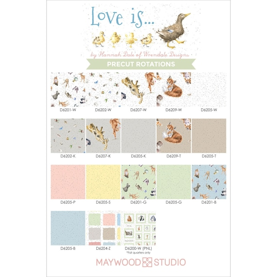 Fabric #D6202-W Little Naturals On White Quilt Shop Quality Love Is..