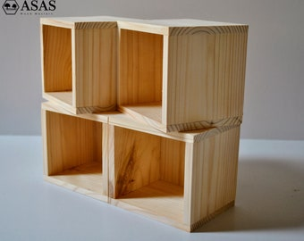 Set of 4, Handmade Wooden box cheap / ASAS LT