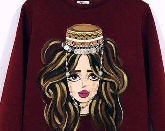 Handmade painted sweatshirt , ArmGirl with traditional headdress