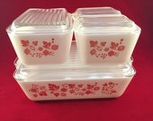 Pyrex Pink Gooseberry refrigerator dishes complete set.