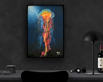 ORIGINAL JELLYFISH  PAINTING - acrylics on canvas- colorfull fine art