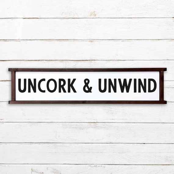 fixer upper wine farmhouse style distressed uncork /& unwind rustic wood sign