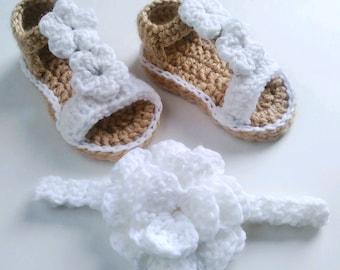 Crocheted Baby girl sandals & headband set soft