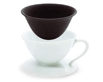 Japanese Ceramic Coffee Dripper & Reusable Filter, Arita Porcelain