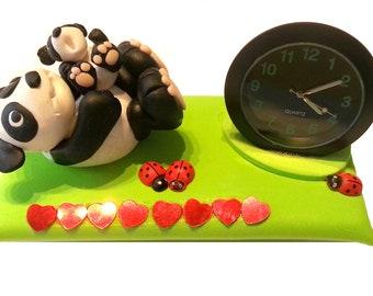 Handmade polymer clay figure with clock