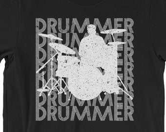 be3a11f32a71 Vintage Drummer Boy Cool Funny Drummer Gift Tee Shirt For Drummer Music Tee  Shirt Music Band Shirt Drums Shirt Music Tshirt