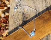 Silver Plated Bracelet for Women by BARBARI Jewelries Handmade Gift for Her Round Evil Eye Pendant- inlaid blue zircons- Special Design