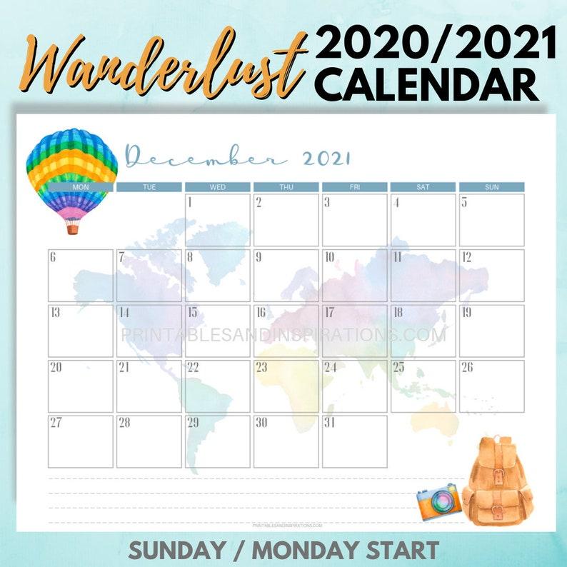 2020 CALENDAR / 2021 CALENDAR  WANDERLUST Travel-themed image 0
