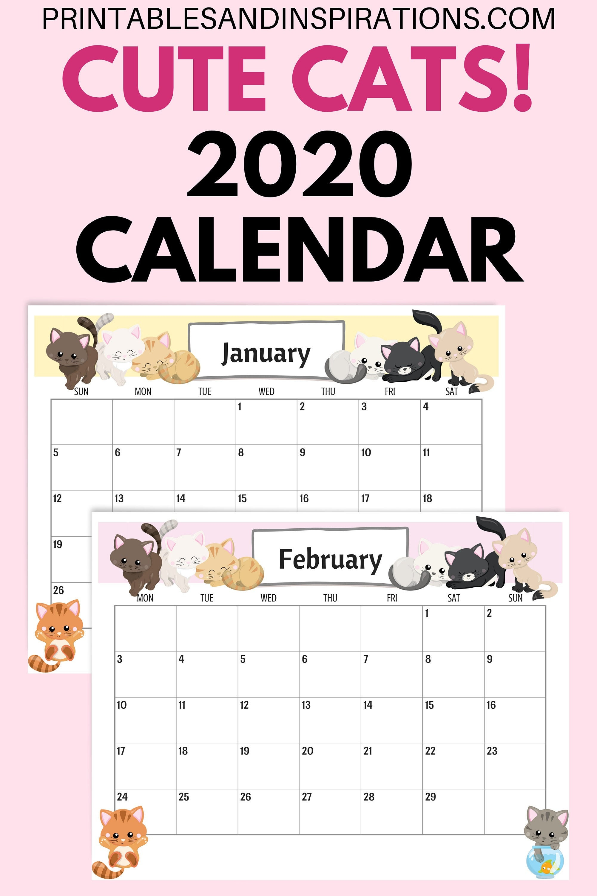 This is a picture of Breathtaking Free Cute Printable Planner 2020