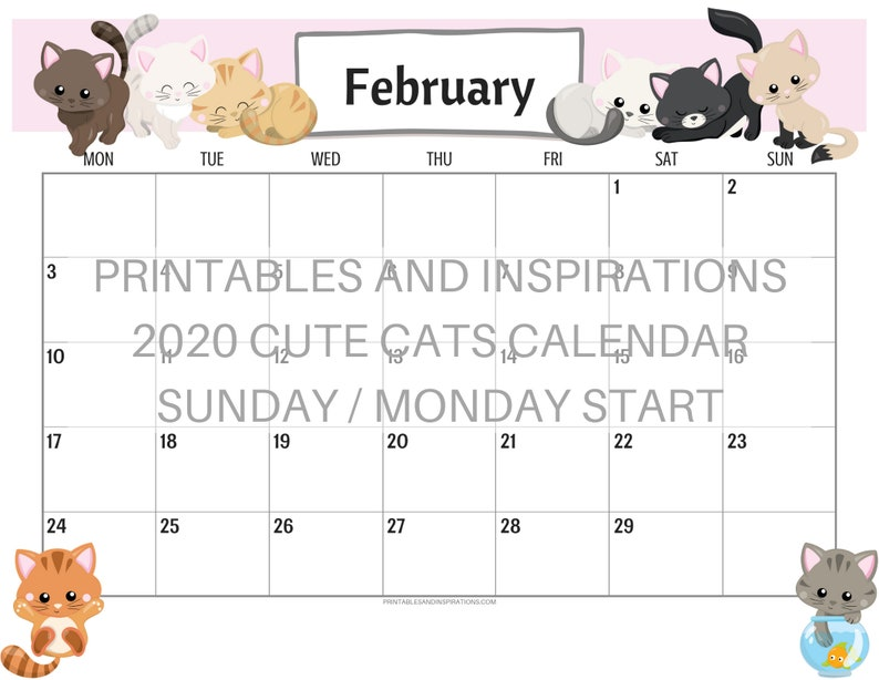 image regarding Cute Calendar Printable titled Lovable Cats 2020 Calendar Printable Planner PDF with Free of charge 2019 Calendar