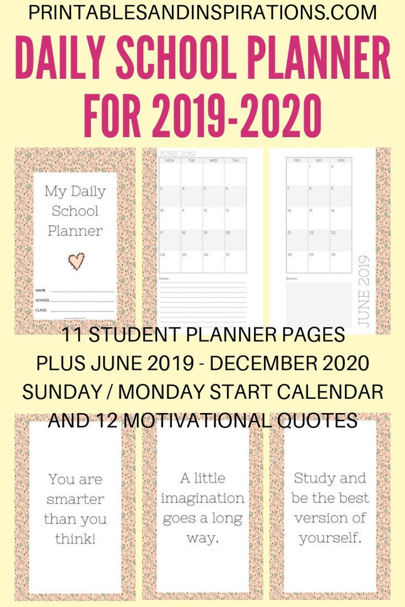 photograph about School Calendar -16 Printable titled 2019-2020 Day by day Faculty PLANNER Floral Calendar Printable PDF (Sunday/Monday Begin) (Halfsize)