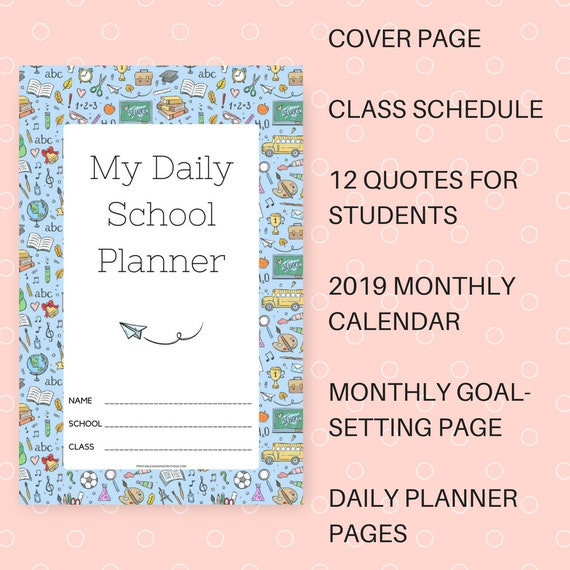 printable daily school schedule