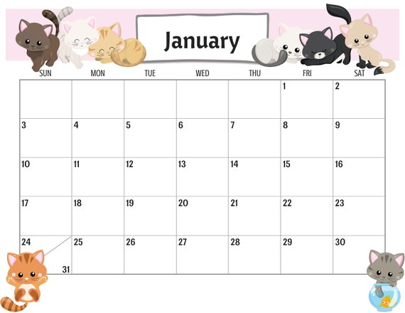 Cute Cats 2021 Calendar Printable Planner PDF | Etsy