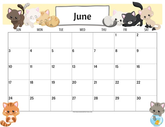 Cute Cats 2019 Calendar Printable Planner Pdf With Free 2018 Etsy