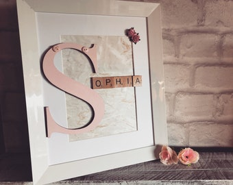 Initial and scrabble letters frame