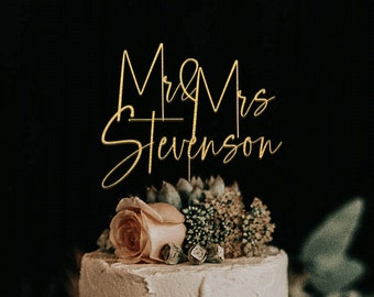 Gold Cake topper for Wedding, Personalized cake topper, Rustic wedding cake topper, Custom Mr Mrs cake topper, Anniversary Cake toppers