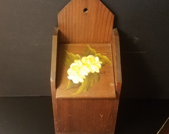 Vintage Wall Mounting Wood Recipe Box with Hand Painted White Peony/Kitchenware
