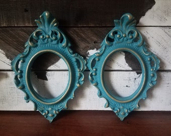 Set of 2 Turquoise Blue/gold Ornate Picture Frames/Home Decoration/Gift for Her