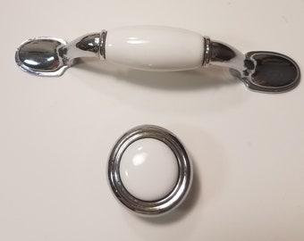 White Ceramic/Chrome pulls and Knobs/Home Improvement/Furniture Cabinet Drawer Hardware