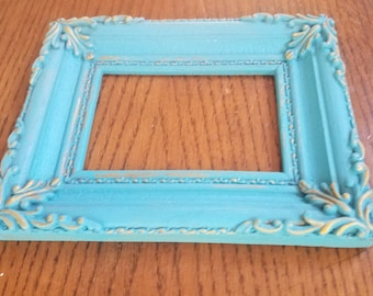 Hand Painted Blue/Gold Ornate Picture Frame/Resin/Home Decor