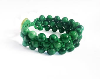 Handmade Green Jade Bracelet With Dragonfly Button