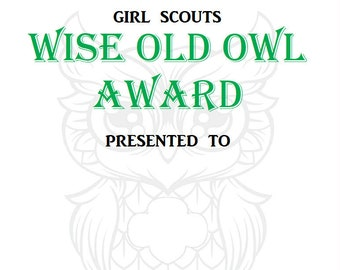 Girl Scout Wise Old Owl Certificate