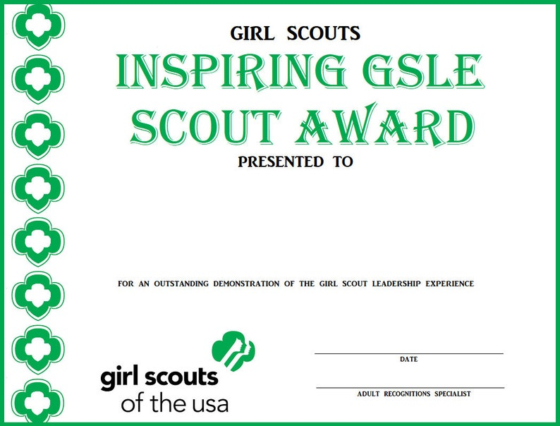 Girl Scout GSLE Award Certificates