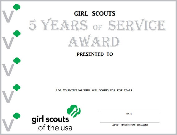 girl scout years of service award certificates etsy