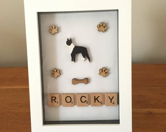 Personalised Boston Terrier Box Frame