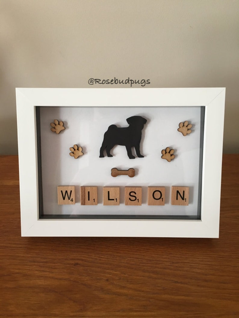 Personalised Pug Box Frame