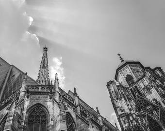 St. Stephen's Cathedral in Vienna, Austria fine art photography photo architecture, rays, sky, clouds black and white