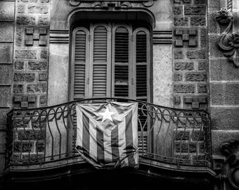 Barcelona dramatic window and door balcony. Flag of independence Fine Art Spain Black and white Estelada Catalonia