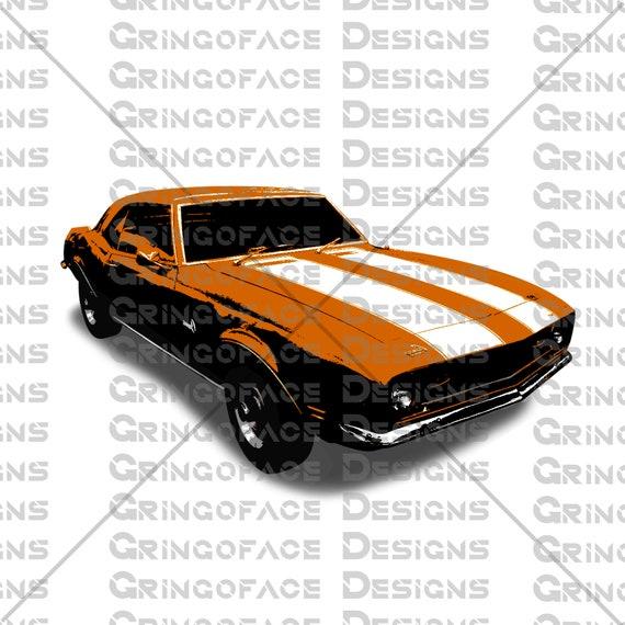 Printable Clip Art Instant Download Green Classic Camaro Etsy