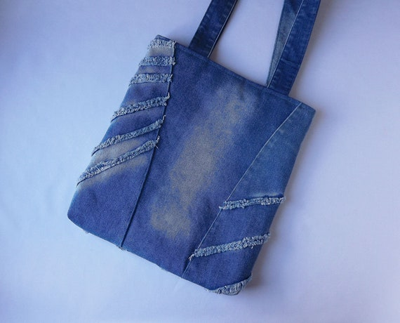 Large blue denim tote bags Beautiful flowers shoulder purse Women Girl Blue recycled jeans handbag Handmade vegan handbag Eco friendly bag